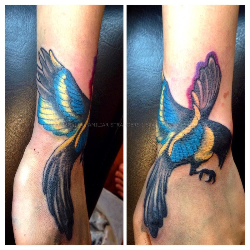 Customized Bird Tattoo by Glenn Tan of FAMILIAR STRANGERS Tattoo Studio, Singapore.